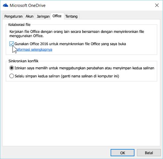Cuplikan layar tab Office di pengaturan untuk baru OneDrive for Business klien sinkronisasi
