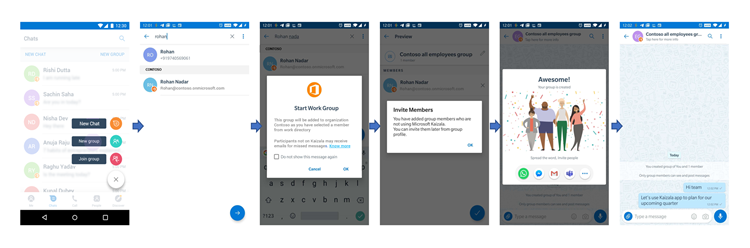 Gambar UI telepon untuk menambahkan ke grup kerja pengguna yang tidak ada di Kaizala.