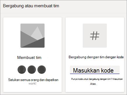 Memasukkan kode tim dalam tim bergabung dengan petak kode