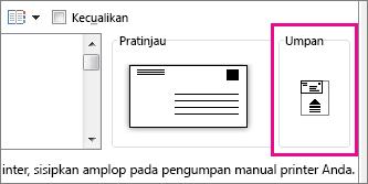 Diagram umpan memperlihatkan cara menyisipkan amplop di printer