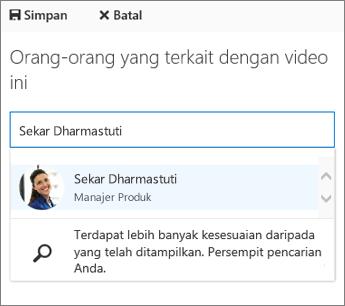 Kaitkan video dengan seseorang di organisasi Anda.