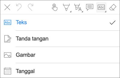 OneDrive untuk iOS Menu teks Markup PDF