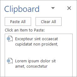 Memperlihatkan panel tugas Clipboard dengan konten yang disalin