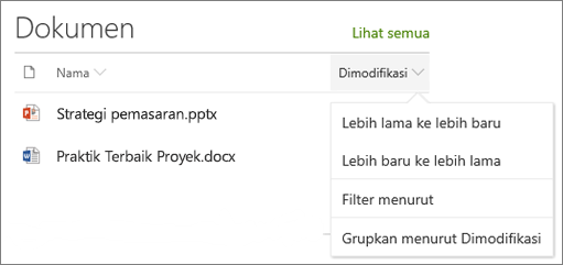 Urutkan memperlihatkan komponen web, filter, dan grup menu pustaka dokumen
