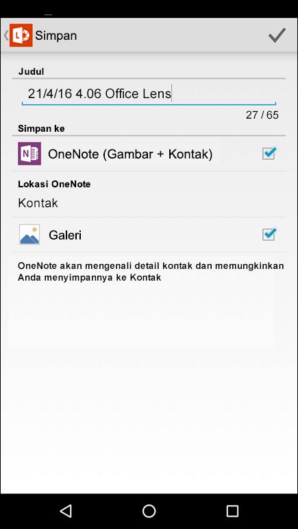 Cuplikan layar fitur ekspor ke kontak di Office Lens untuk Android.