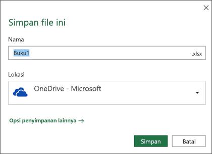 Dialog penyimpanan di Microsoft Excel untuk Office 365