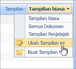 SharePoint 2007 Tampilkan menu dengan modifikasi tampilan ini disorot