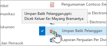 Arahkan mouse ke atas ikon dengan panah hijau, dan Lihat siapa yang memiliki file yang dicek keluar.