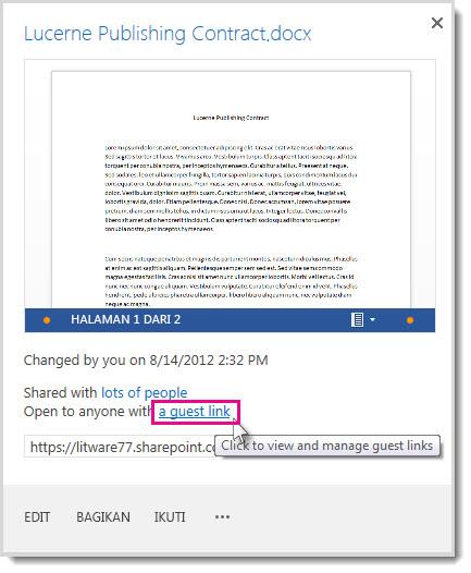 Kotak dialog Properti menunjukkan bahwa dokumen telah dibagikan dengan link tamu.