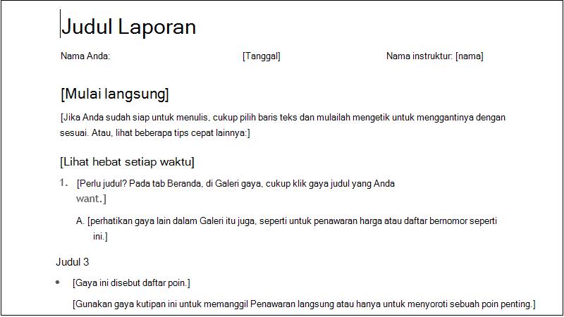 cuplikan layar laporan pelajar sederhana