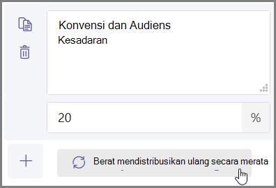 """Klik tombol """"distribusikan yang merata"""" untuk menetapkan persentase dan poin secara otomatis"""