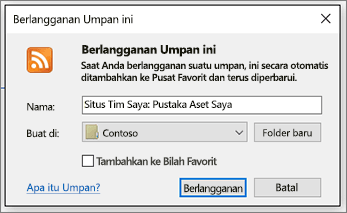 Dialog Berlangganan RSS di mana Anda bisa mengubah folder untuk umpan agar masuk