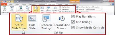 Grup Siapkan pada tab Peragaan Slide di pita PowerPoint 2010