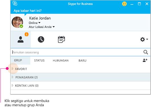 Jendela utama Skype for Business, klik segitiga untuk memperluas atau menciutkan grup