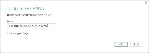 Kotak dialog SAP HANA Database