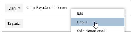 Cuplikan layar opsi Hapus