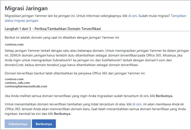 Cuplikan layar Langkah 1 dari 3 - Memeriksa/Menambahkan Domain Terverifikasi sebelum memigrasikan jaringan Yammer