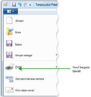 Gambar menu Paint memperlihatkan huruf yang digarisbawahi dalam perintah menu