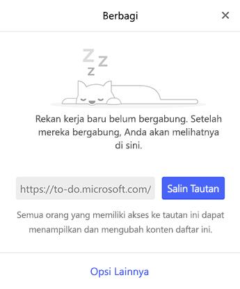 Cuplikan layar memperlihatkan menu berbagi