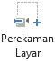 Tombol perekaman layar pada tab perekaman di PowerPoint 2016