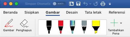 Pena dan penyorot pada tab gambar di Office 365 untuk Mac