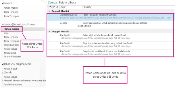 Setelah Anda mengimpor email ke kotak surat Office 365, ini akan muncul di dua tempat.