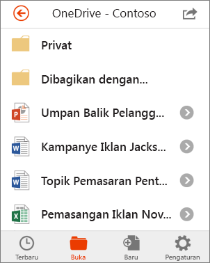 File OneDrive di Office Mobile