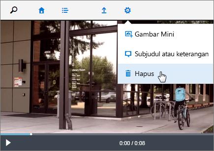 Cuplikan layar halaman video dengan perintah Hapus aktif.