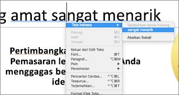Kata-kata bergaris bawah biru dengan menu kontekstual yang memperlihatkan saran tata bahasa