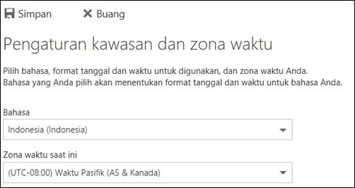 Cuplikan layar: Pilih bahasa dan zona waktu saat ini