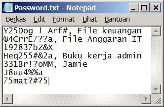 Daftar kata sandi di file Notepad