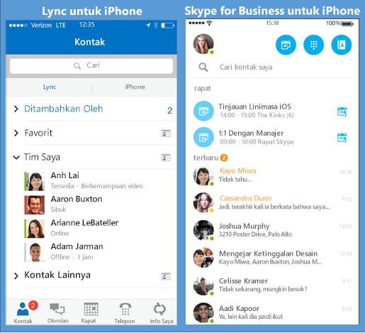 Cuplikan layar berdampingan antara Lync dan Skype for Business