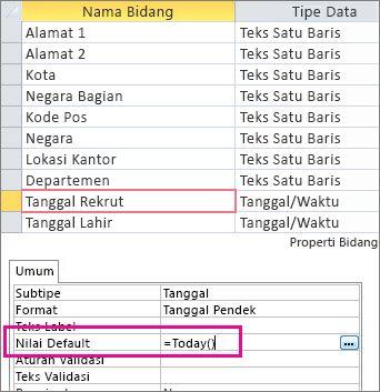 Mengatur nilai default bidang Tanggal/Waktu dalam tabel Access.