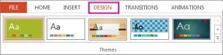 Galeri tema pada tab Desain