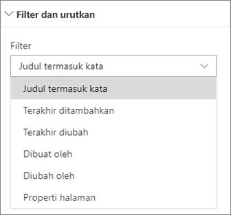 Berita filter dan Urutkan