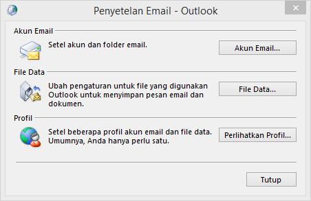 Dialog email di panel kontrol