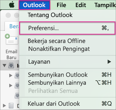 Menu Outlook > Preferensi