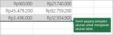 Seret gagang pengubah ukuran untuk mengubah ukuran tabel Anda