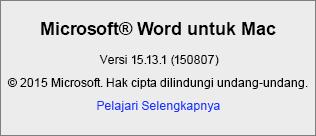 Cuplikan layar yang memperlihatkan halaman Tentang Word di Word untuk Mac