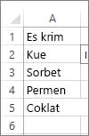 daftar nilai untuk digunakan di kotak kombo