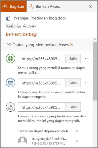 Cuplikan layar panel Kelola akses memperlihatkan tautan berbagi.