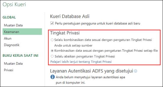 Power Query - Mengatur untuk menonaktifkan permintaan Tingkat Privasi di tingkat mesin (termasuk Kunci Registri)