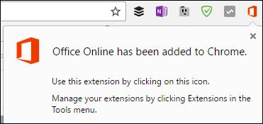 Chrome memberi tahu Anda bahwa ekstensi Office Online telah berhasil ditambahkan