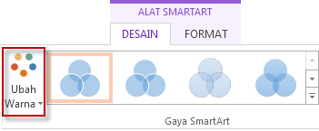 Ubah opsi Warna di grup Gaya SmartArt