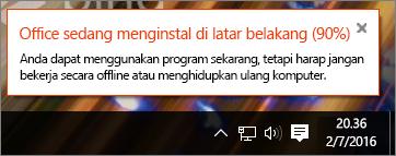 Dialog yang menampilkan instalan Office terhenti di 90%