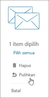 Cuplikan layar memperlihatkan opsi Pulihkan dipilih di panel Baca.