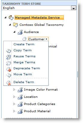 Gunakan menu untuk mengelola istilah dalam kumpulan istilah.
