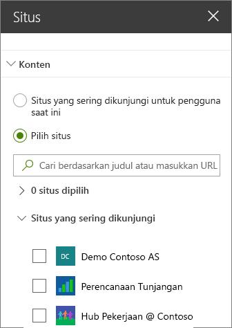 Situs web komponen pengaturan