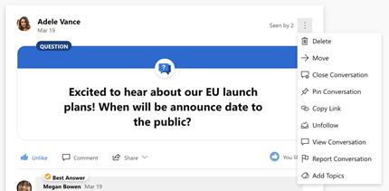 Menyematkan percakapan dalam kotak dialog menu menurun Yammer