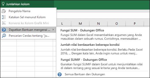 Klik kotak Beri Tahu Saya di Excel lalu ketikkan apa yang ingin Anda lakukan. Beri Tahu Saya akan mencoba membantu menyelesaikan tugas tersebut.